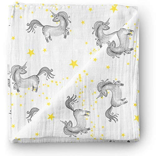 Aenne Baby Unicorn Star Muslin Swaddle Blanket Designer Print, Large 47 x 47 inch, 1 pack, Baby Shower Gifts, Luxurious Soft and Silky Bamboo Cotton, Nursing Cover, Wrap, Burp Cloth, Stroller cover