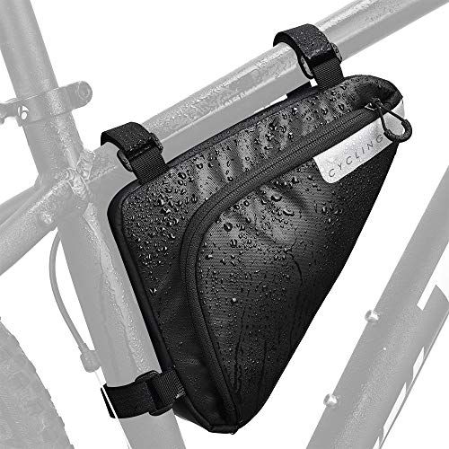 Lukovee Bike Frame Bag, Bicycle Triangle bag Front Tube Water Resistant Waterproof Cycling Pack Strap-On Saddle Pouch…