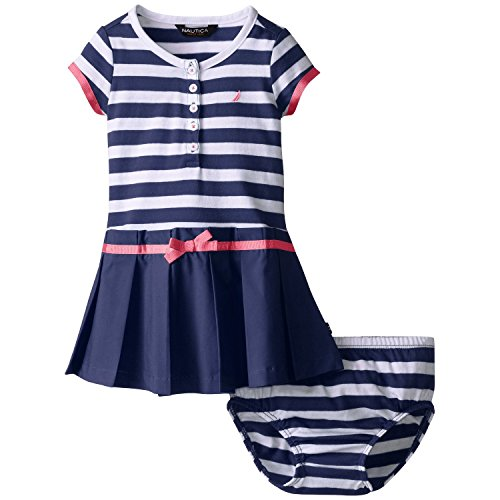 Nautica Baby Girls' Paperbag Waist Combination Dress, EL Navy, 18 Months