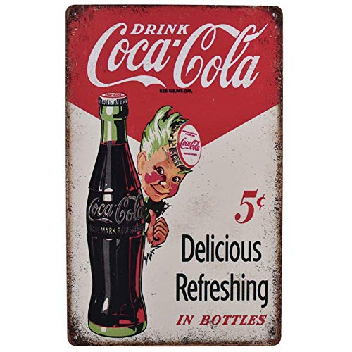 Drink Coca Cola Delicious Refreshing In Bottles Retro Vintage Bar Signs Tin Sign Vintage 12 X 8 Inch Tins Antique Jack Large Cokes Lighted Cokecola 8x12 Old Coco Big Home For Light Cococola 12in And
