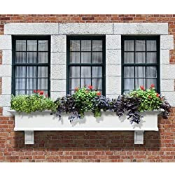 "Mayne Yorkshire II 72"" Window Box Combo with Corbel Brackets White 6'"