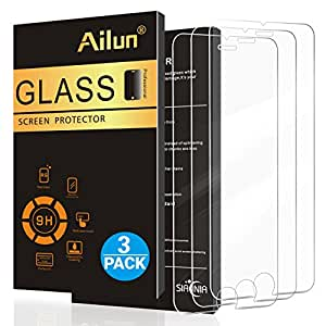 iPhone 6 plus Screen Protector,iPhone 6s plus Screen Protector,[3 Pack]by Ailun,0.33mm 2.5D Edge Tempered Glass,Anti-Scratches,Case Friendly,Siania Retail Package