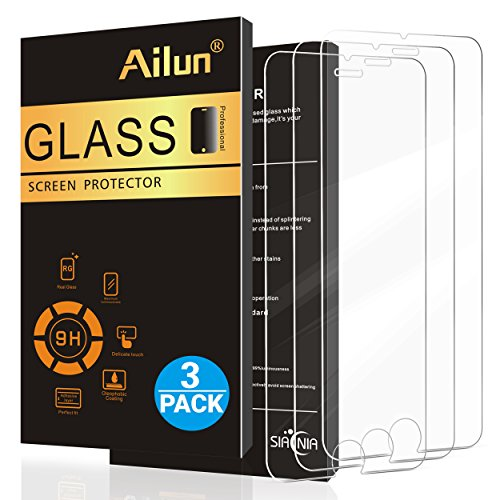 AILUN Screen Protector Compatible with iPhone 6 plus/6s Plus,[3 Pack] 0.33mm 2.5D Edge Tempered Glass,Anti-Scratches,Case Friendly,Siania Retail Package