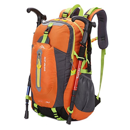 LQABW Bolso Del Alpinismo Al Aire Libre Los Hombres Y Las Mujeres De Hombro Bolsa De Viaje Impermeable Y Transpirable Ocio Mochila,Green Orange