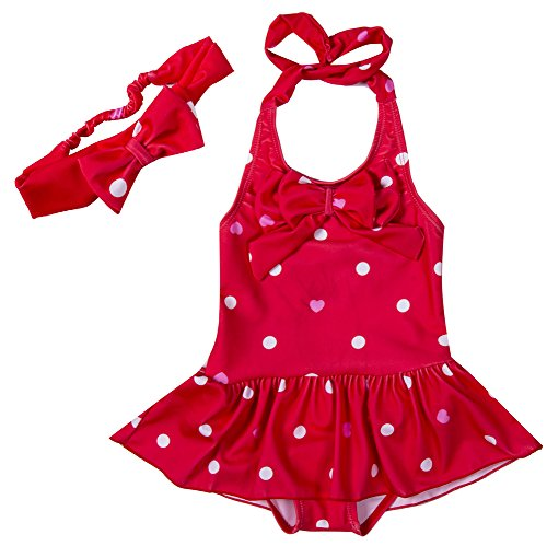 Girls One Piece Polka Dots Ruffle Swimsuit Beach Wear With Bowknot Headband (5-6Years, Red)