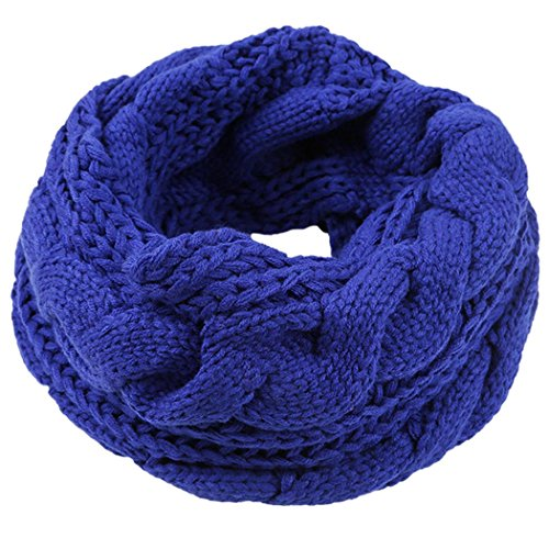Veenajo Unisex Sweater Scarves Thick Ribbed Knit Winter Warm Soft Infinity Circle Loop Scarf(Navy)