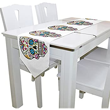 Naanle Double-Sided Dia De Los Muertos Suger Skull Day of the Dead Polyester Table Runner 13 x 70 Inches Long White Table Top Decoration