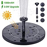 HEYSTOP Solar Fountain Pump, 3.0W Circle Solar Water Pump Floating Fountain Built-in Battery, with 6 Nozzles, for Bird Bath, Fish Tank, Pond or Garden Decoration: more info