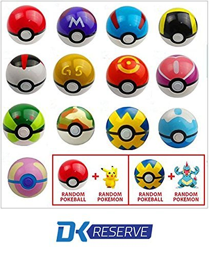 (2-Pack) Pokemon Pokeball Toys with Action Figure Inside- Real Toy Pokeballs that Open- Includes Two Pokemon Figurines & Pokeballs | DK Reserve Toys