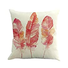 KMG Kimloog Cute Feather Style Linen Square Decorative Throw Pillow Case Cushion Cover for Sofa Bed Car