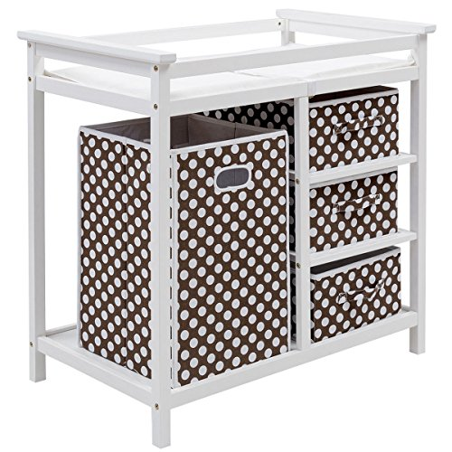 Costzon Baby Changing Table, Diaper Storage Nursery Station with Hamper and 3 Baskets (White+Brown) by Costzon (Image #3)