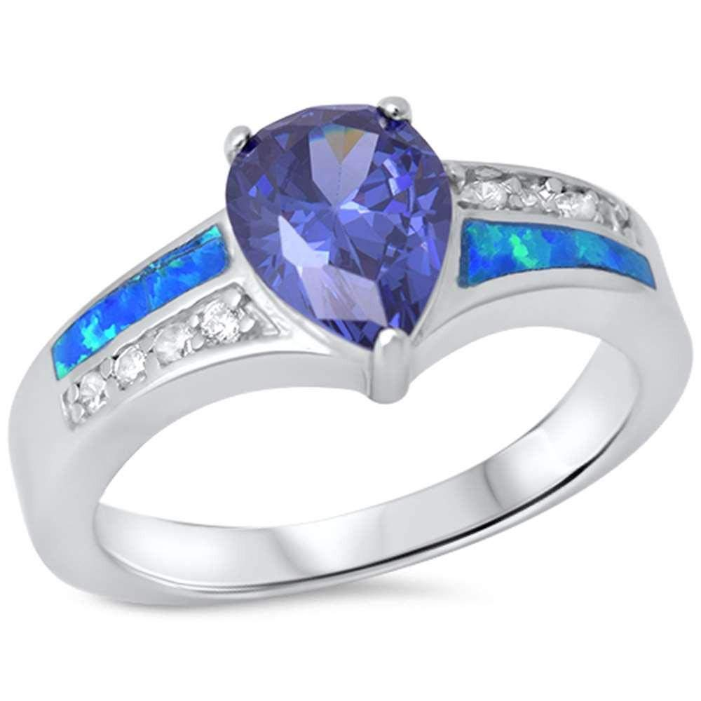 Princess Kylie Synthetic Blue Opal Pear Synthetic Tanzanite Clear Cubic Zirconia Fashion Ring Sterlig Silver