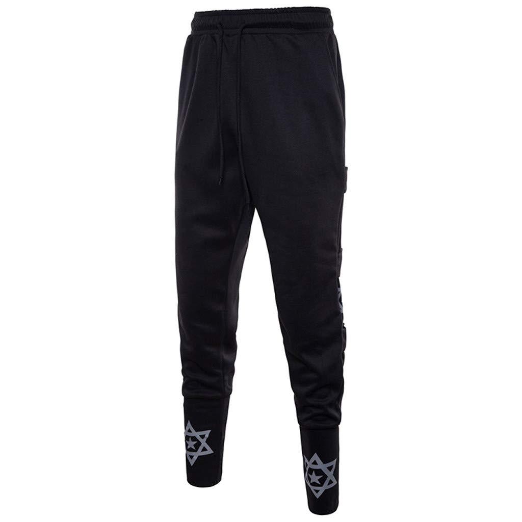 ANJUNIE Beam Foot Harem Pants Mens Stripe Track Pants Skinny Fit Stretch Trouser Elastic Jogger(Black,L)