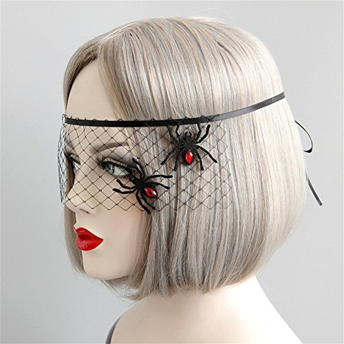 Halloween Women Sexy Black Lace Gauze Spider Snowflake Mask Headband Hair Bands Makeup Prom Party Elegant Headwear ()
