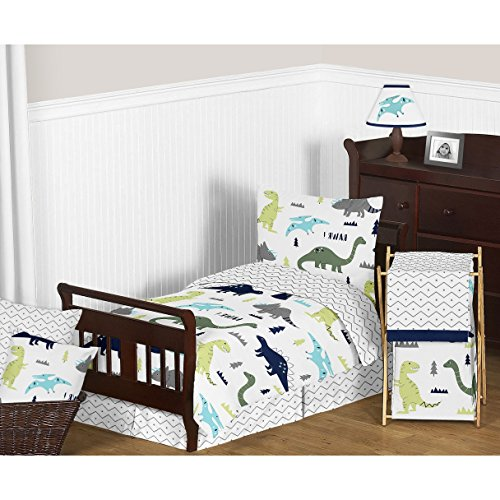 L&M 5 Piece Kids Blue Green Dinosaur Toddler Bed Set, Grey T