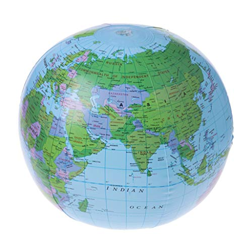 Kofun Map Balloon, Inflatable World Map Globe Balloon Beach Ball Education Geography Kid Toys Ideal Christmas Birthday Map Balloon Gift for Kids 30 cm]()