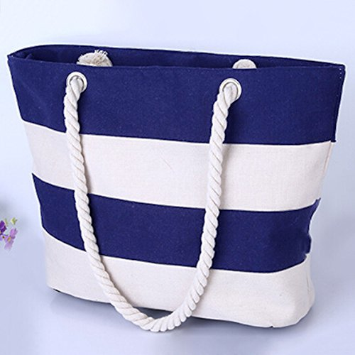 with Inner THEE Blue Pocket Beach Bag Navy Handles Zipper Tote with Rope Canvas t88gwB