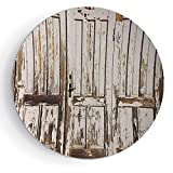 iPrint 6'' Rustic Print Ceramic Decorative Plate Vintage House Entrance with Vertical Lined Old Planks Distressed Hardwood Design