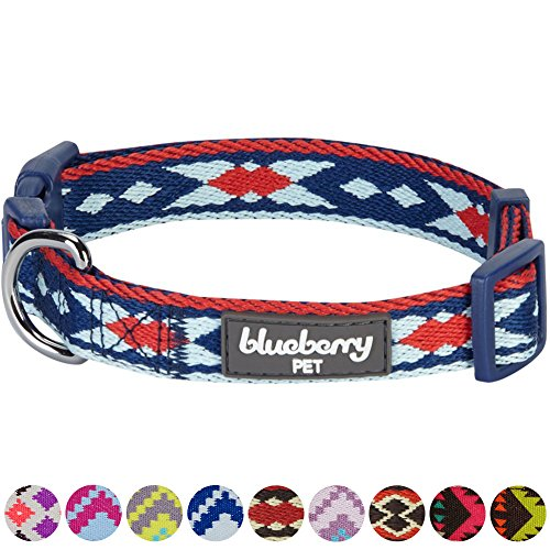 "Blueberry Pet 10 Colors Epic Tribal Print Navy Braided Dog Collar, Medium, Neck 14.5""-20"", Adjustable Collars for Dogs"