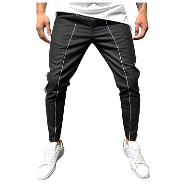 Hombres Largos Pantalones de Entrenamiento de Costura a Rayas para ...