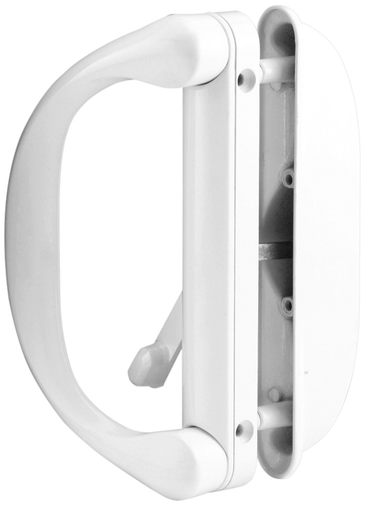 Prime-Line Products C 1275 Sliding Door Handle Set with Latch, White, 1-Pack