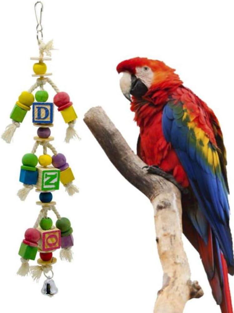 Hpybest Suministros para Loros Grandes y medianos, Escalera de Juguete para Escalada, Calabaza, Letras, Barra de pie, Accesorios para Jaula de pájaros