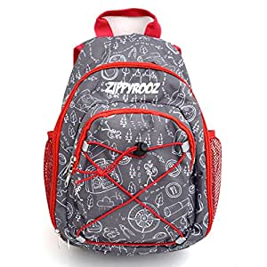 ZippyRooz Toddler & Little Kids Extra SMALL Hiking Backpack for Boys and Girls in Red & Gray Featuring Fun Hiking Print of a Map, Trees, Camping, Compass, etc (Gray Hiking)
