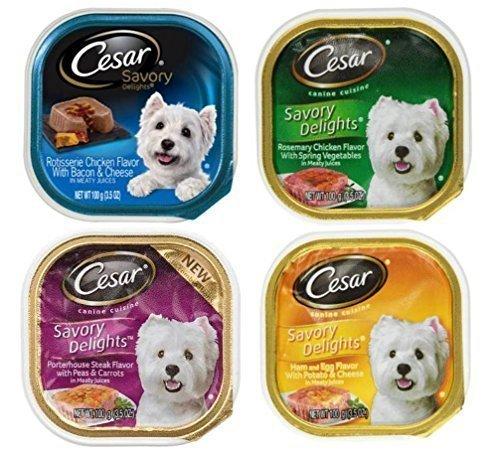 Cesar Savory Delights Dog Food 4 Flavor 8 Can Bundle: (2) Porterhouse Steak, Peas, Carrots, (2) Ham, Egg, Potato, Cheese, (2) Rosemary Chicken, & (2) Rotisserie Chicken, Bacon, Cheese, 3.5 Oz. Ea.