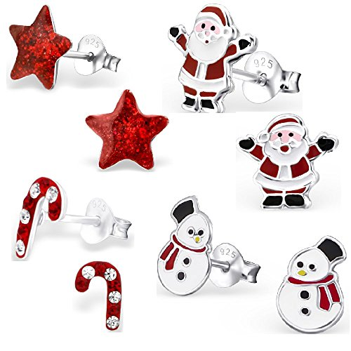 925 Sterling Silver Hypoallergenic Set of 4 Pairs Christmas Set Red Star, Crystal Candy Cane, Santa Claus, Snowman w/ Red Scarf Stud Earrings for Girls (Nickel Free)