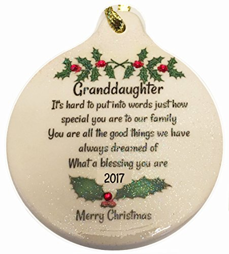 Granddaughter 2017 Porcelain Ornament Gift Boxed Rhinestone Crystal Detail (Christmas Granddaughter's First 2017)