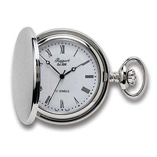 Vintage Pocket Watch with Chain by Rapport - Classic Oxford Hunter Case Pocket Watch - Silver from Rapport