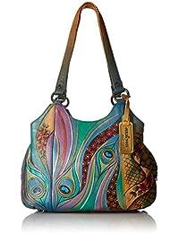 Womens Leather Hand Painted Triple Compartment Medium Satchel Handbag