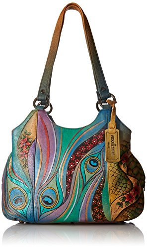 Dancing Medium Satchel Peacock Anuschka Compartment Triple Leather Hand Womens Handbag Painted xwfUfZqzWa