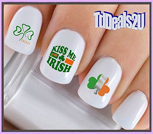 Holiday St. Patricks Day - Kiss Me I'm Irish Flag Clover WaterSlide Nail Art Decals - Highest Quality! Made in (Irish Flag Tattoos)
