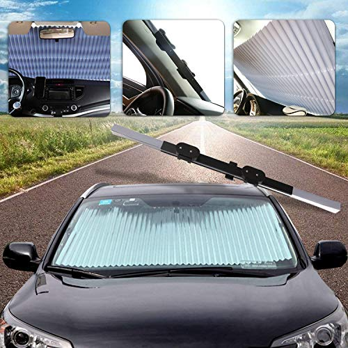 (AUTOPDR Universal Car Retractable Windshield Sun Shade Auto Sun Shade Cover for Most car Trucks SUV UV Protection Front Windows)