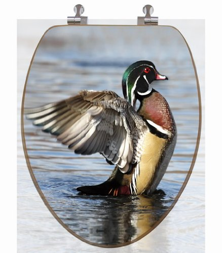 3D Upland Series Wood Duck Stretching Elongated Toilet Seat