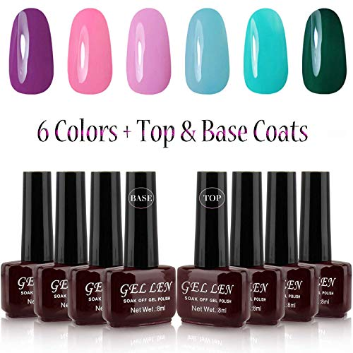 Gellen Gel Nail Polish 6 Colors Vibrant Shade Set - With Top Coat Base Coat Kit, 8ml Each
