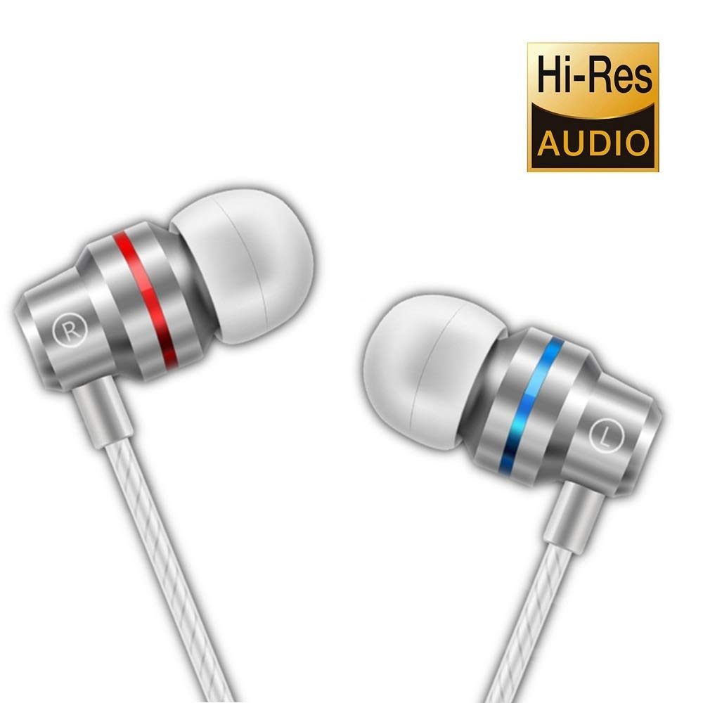 Earbuds Ear Buds in Ear Headphones Wired Earphones with Microphone Mic Stereo and Volume Control Waterproof Metal Wired Earphone for iPhone Samsung Mp3 Players Tablet Laptop 3.5mm