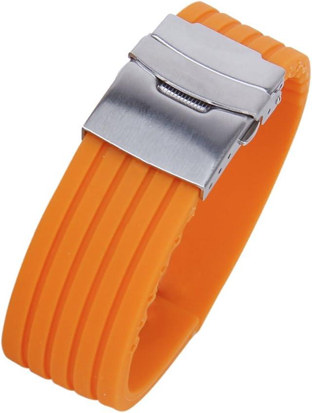SuntekStore Online - Silicona reloj correa de caucho band hebilla del despliegue de 22 mm a prueba de agua color naranja