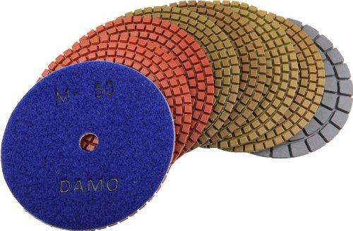 - DAMO Diamond Polishing Pads 5 inch Wet Set of 7 + Black Buff for Granite Countertop Floor Polish