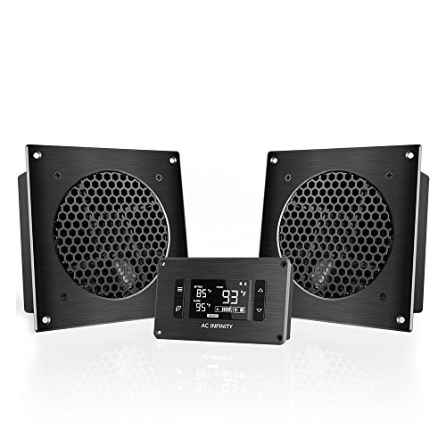 AC Infinity AIRPLATE T8, Quiet Cooling Twin-Fan System 6″ with Thermostat Management, for House Theater AV Cupboards