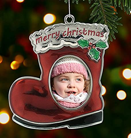 Santa's Boot Photo Frame Christmas Ornament with Holly - Chrome Metal and Enamel Finish - 3-1/2 Inch