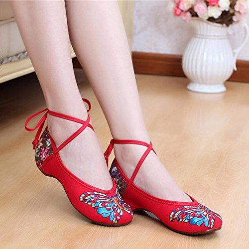 Vrouwen Chinese Stijl Vlinder Borduurwerk Casual Schoenen Vastbinden Ballet Platte Schoenen Rode # 2