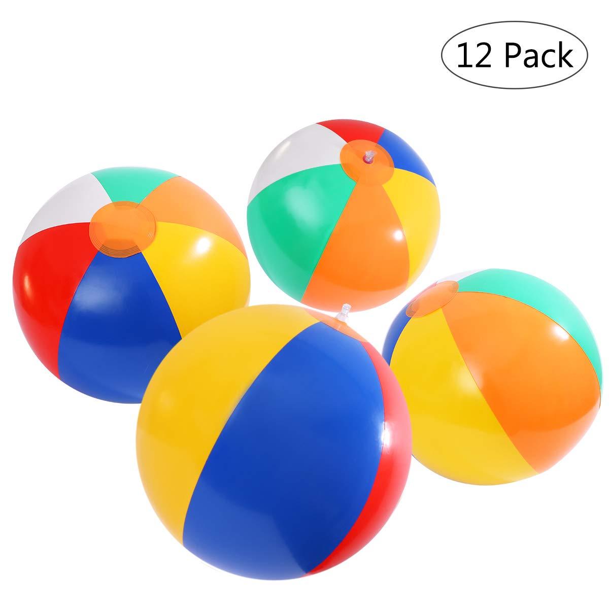 STOBOK Les Ballons de Plage gonflables pour la Partie de piscines Jouant à la Plage Joue 12Pcs