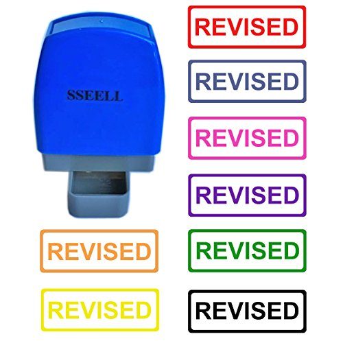 SSEELL Revised Self Inking Rubber Flash Stamp Self-Inking Pre-Inked RE-inkable Office Work Company School Stationary Stamps with Frame Line - Red Ink Color