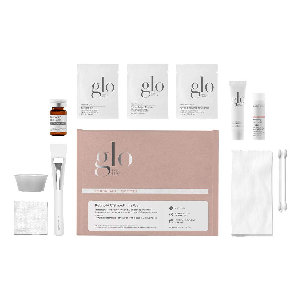 Glo Skin Beauty Retinol & C Smoothing Peel   Level 1 Professional At Home Peel Kit in a Box   For Exfoliating, Refining & Balancing
