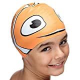 SWIM ELITE Silicone Swimming Cap for Kids from Children Swim Cap for Boys and Girls Aged 4-12 - Fun Waterproof Junior SwimCap