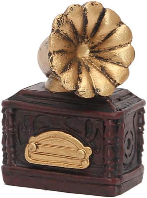JUNGEN Adornos de Resina Vintage Tocadiscos Crafts Decoración de ...