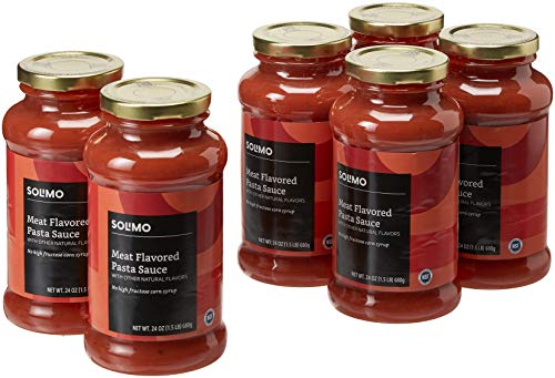 Amazon Brand - 24 oz Solimo Pasta Sauce, Meat-flavored (Pack of 6)