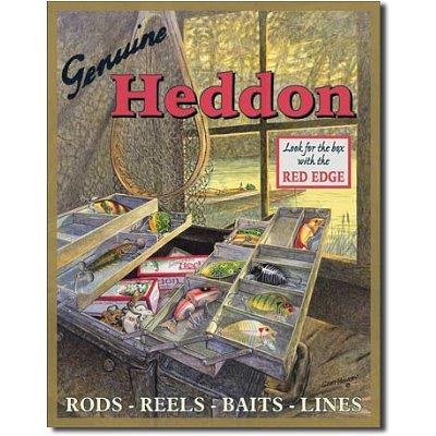 - Heddon Fishing Tackle Box Lures Tin Sign